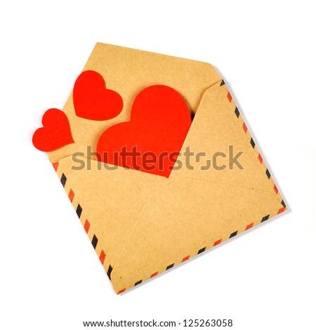 Envelope with valentine hearts - stock photo