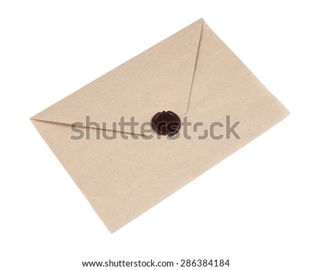 Envelope with Wax Seal isolated on white background