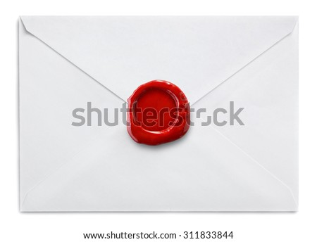 Envelope  with wax seal on white background - stock photo