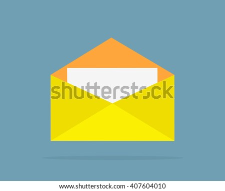 Envelope yellow open design flat. Letter icon, mail and open envelope template, white page, invitation envelope isolated logo  illustration - stock photo