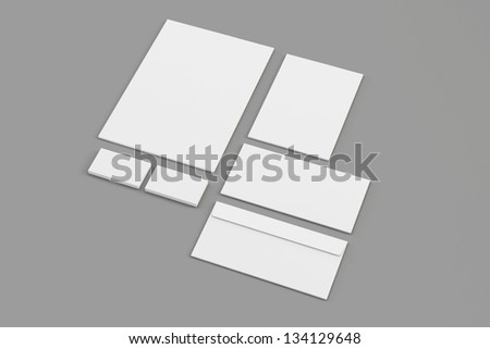 Envelopes Business card folder isolated on grey with soft shadows - stock photo