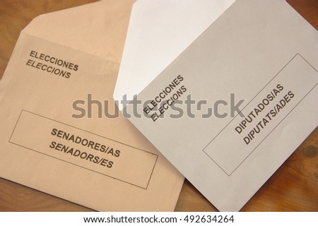 Envelopes for Spanish general election. Envelopes the general elections in Spain. Two types of envelopes to elect the representatives of Spanish citizens in Congress and the Senate.