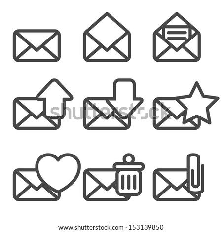 Envelopes Icons - stock photo