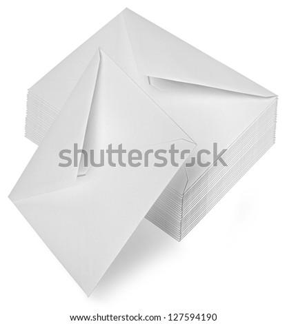 Envelopes isolated over white background - stock photo