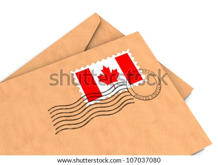 Envelopes with the Canadian flag and postage stamps, part of a series - stock photo
