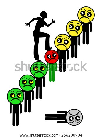 Envious of Success. Humorous concept sign of successful woman surpassing all her male competitors who become green eyed - stock photo