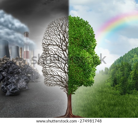 Environment change and global warming environmental concept as a scene cut in two with half showing a dead tree as a human head in pollution and the opposite with healthy green clean air and plants. - stock photo