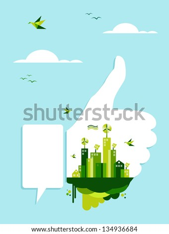 Environment conservation concept illustration: thumb up hand like with green city town on blue sky. - stock photo
