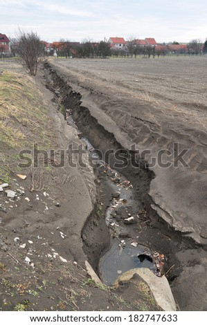Environment destruction, soil earth erosion.