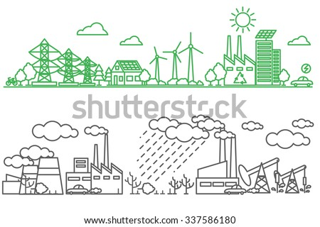 Environment, ecology infographic elements. Environmental risks and pollution, ecosystem. Can be used for background, layout, banner, diagram, web design, brochure template. illustration line art - stock photo