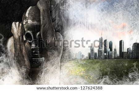 Environment illustration, man with gas mask over dirty city - stock photo