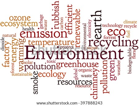 Environment, word cloud concept on white background.