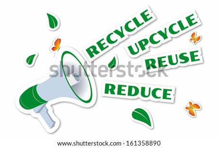 Environmental awareness green stickers isolated on white - stock photo