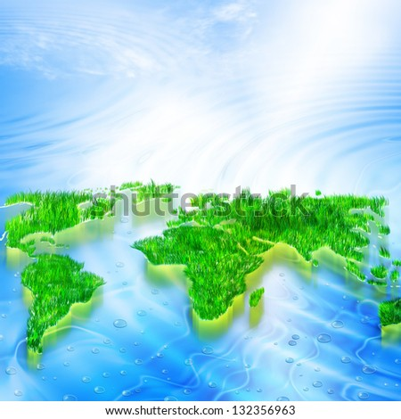 Environmental Concept. Globe and a green tree in the hands against the backdrop of a ripple