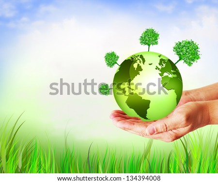 Environmental Concept. Globe  in the hands - stock photo
