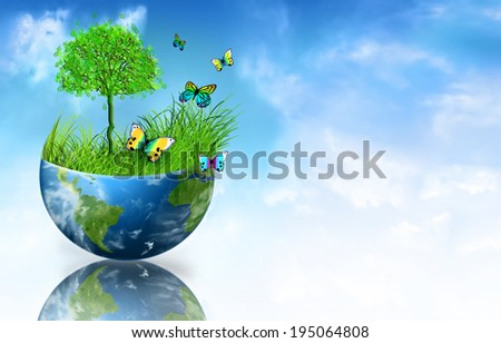 Environmental Concept. Globe. Tree, grass and butterflies on half the globe - stock photo