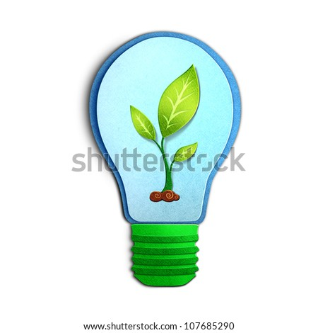 Environmental concept paper cut illustration � light bulb with young plant