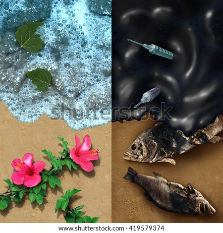 Environmental concept with a clean beach with natural plants and a dark contrasting opposite side with an oil spill disaster with dead fish and medical waste pollution with 3D illustration elements. - stock photo