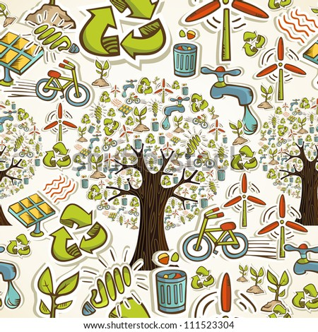 Environmental conservation hand drawn icons seamless pattern background.