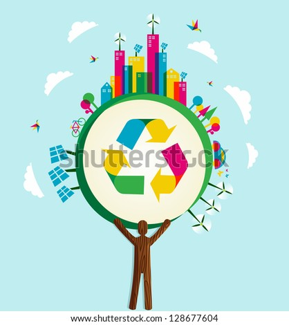Environmental conservation icons in world tree. - stock photo