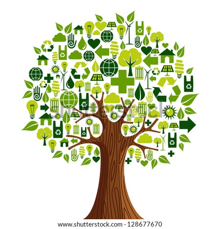 Environmental conservation icons set in tree shape. - stock photo