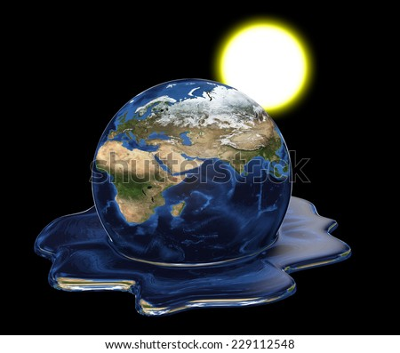 Environmental disaster concept of Earth melting under the sun. Elements of this image furnished by NASA - stock photo