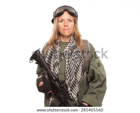 Environmental disaster. Post apocalyptic female survivor with gas mask and rifle. - stock photo