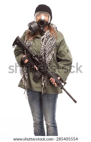 Environmental disaster. Post apocalyptic female survivor with gas mask and rifle on white background. - stock photo