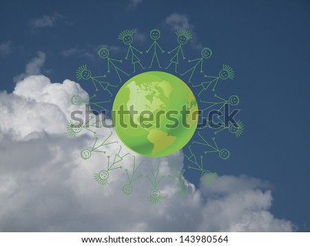 Environmental green earth surrounded by people holding hands against a cloudy blue sky - stock photo