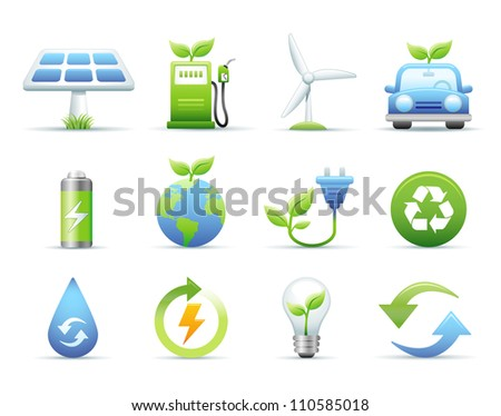 Environmental & Green Energy Icons Set - stock photo