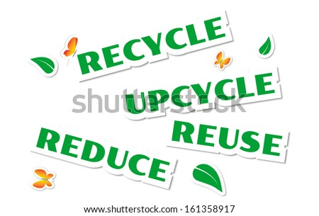 Environmental green stickers isolated on white
