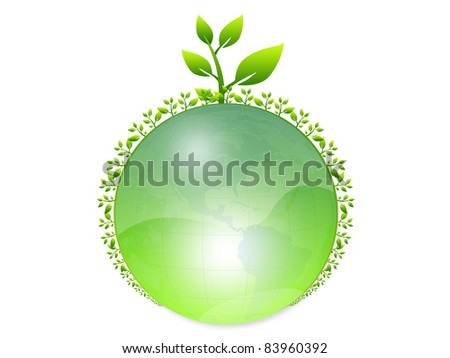 Environmental green  world  with trees, Isolated on white background - stock photo