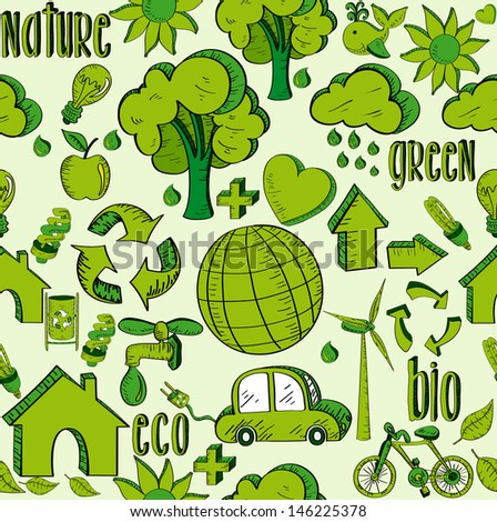 Environmental hand drawn sketch style seamless pattern icons.  - stock photo