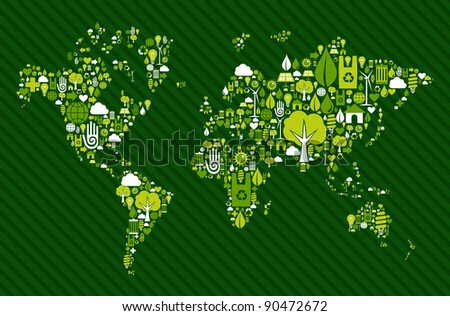 Environmental icon set in Globe world map. - stock photo