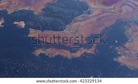Environmental liquid oil pollution, disaster dirty, contamination of the environment, oil lagoon, toxic soil, waste, Czech Republic, Europe, EU - stock photo