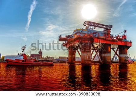 Environmental pollution caused by oil spill - Environmental pollution concept. - stock photo