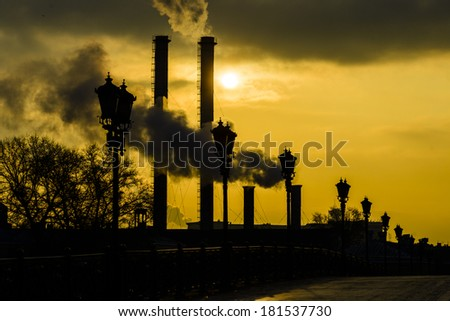 Environmental pollution in the morning in Moscow city - stock photo