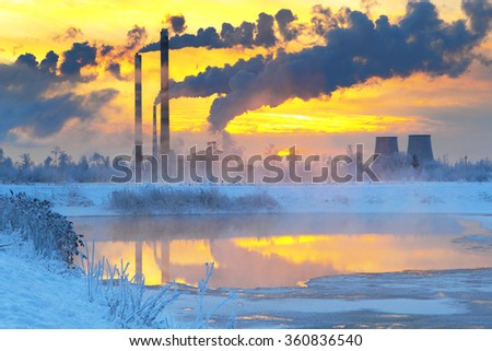 Environmental pollution.Industrial business. - stock photo