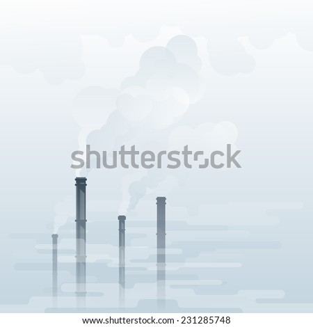Environmental pollution, industrial smoke from chimney, smog and fog in sky, ecology concept, eps10 illustration - stock photo