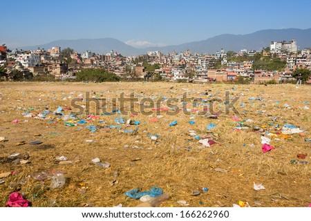 Environmental problems in Kathmandu. Environmental pollution.  - stock photo