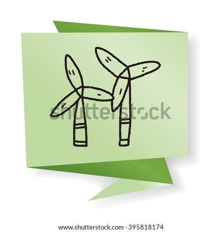 Environmental protection concept;wind energy; saving energy; renewable energy; doodle - stock photo
