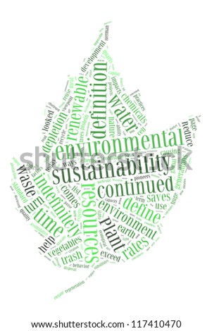 Environmental sustainability in leaf shape collage - stock photo