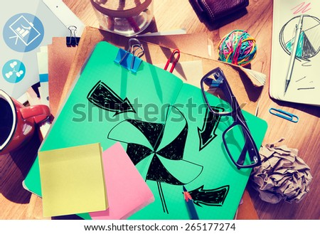 Environmental Turbine Natural Pollution Ecology Cycle Concept - stock photo