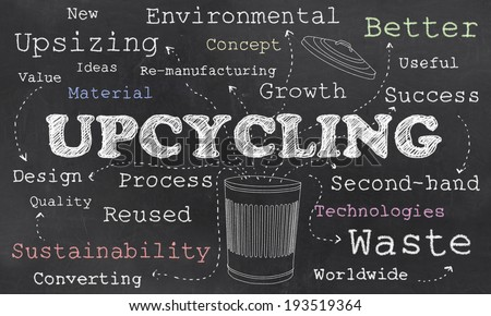 Environmental Words of Upcycling With Chalk Drawing on Blackboard - stock photo