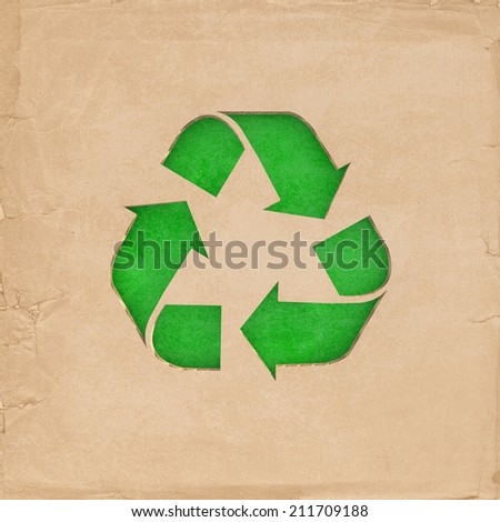 Environmentally friendly - Recycle sign cut-out on cardboard