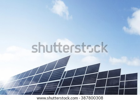 Environmentally friendly solar panels generating power.