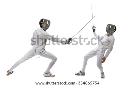 Epee or Sabre Fencing Players - stock photo