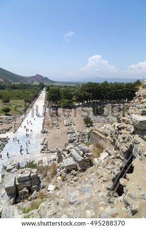 Ephesus, Izmir Province, Turkey - July 17, 2016: The ancient city of Ephesus (Efes in Turkish) located near Selcuk town of Izmir Turkey.