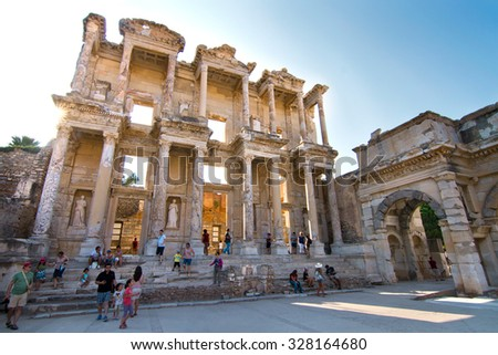EPHESUS, TURKEY - AUGUST 8, 2014: the library of Celsus, in the roman archeological site of Ephesus (Kusadasi) - stock photo