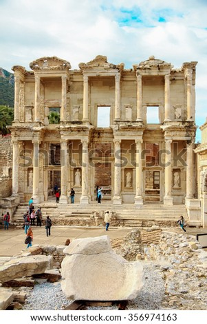 EPHESUS, TURKEY - december 2014 The front facade of the Library of Celsus at Ephesus is an ancient Greek and Roman structure.